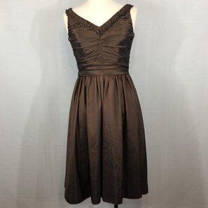 Liz Claiborne Brown Cocktail Party Dress, V-Neck 4
